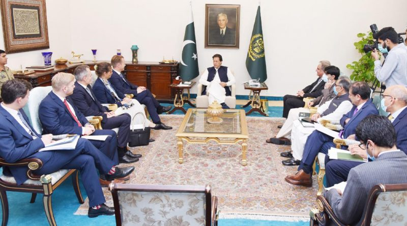 PM Imran Khan talking to Danish Foreign Minister Jeppe Kofod in Islamabad